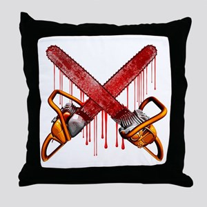 Bloody Chainsaws Throw Pillow
