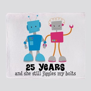 25 Year Anniversary Robot Couple Throw Blanket