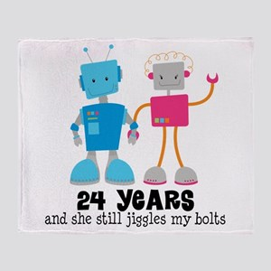 24 Year Anniversary Robot Couple Throw Blanket