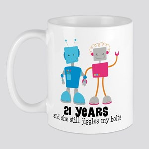 21 Year Anniversary Robot Couple Mug