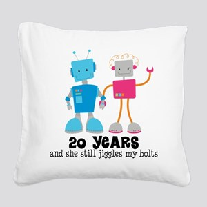 20 Year Anniversary Robot Couple Square Canvas Pil