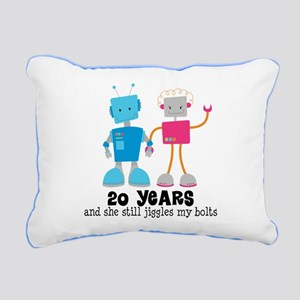 20 Year Anniversary Robot Couple Rectangular Canva