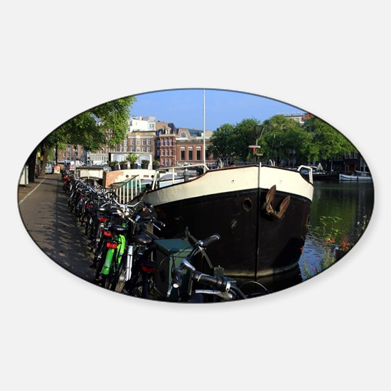 Barge and bicycles, Amsterdam Decal
