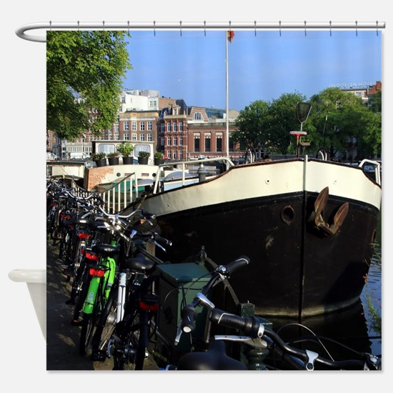 Barge and bicycles, Amsterdam Shower Curtain