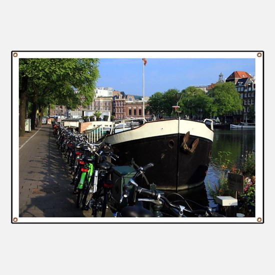 Barge and bicycles, Amsterdam Banner