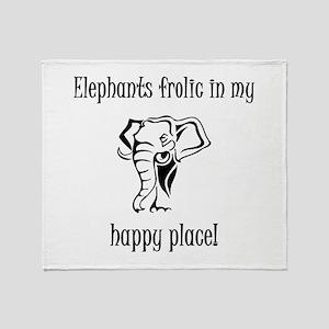 Elephants frolic in my happy place Throw Blanket
