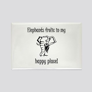 Elephants frolic in my happy place Rectangle Magne