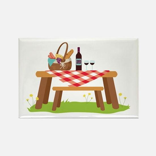 Picnic Table Basket Wine Magnets