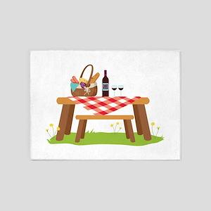 Picnic Table Basket Wine 5'x7'Area Rug