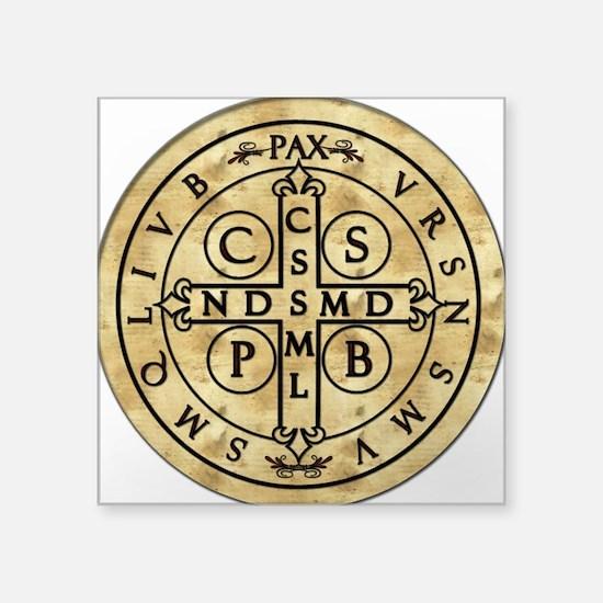 "St. Benedict Medal Square Sticker 3"" x 3"""