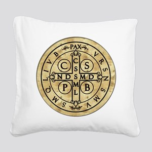 St. Benedict Medal Square Canvas Pillow
