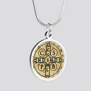 St. Benedict Medal Silver Round Necklace