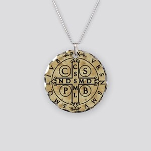St. Benedict Medal Necklace Circle Charm