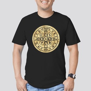 St. Benedict Medal Men's Fitted T-Shirt (dark)