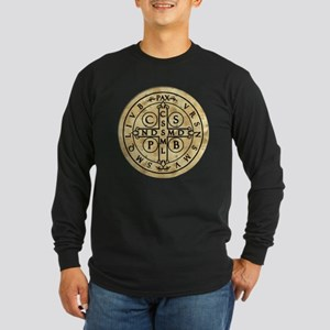 St. Benedict Medal Long Sleeve Dark T-Shirt