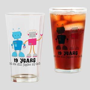19 Year Anniversary Robot Couple Drinking Glass