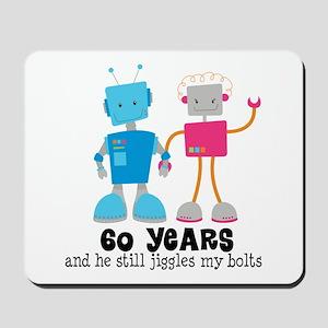 60 Year Anniversary Robot Couple Mousepad