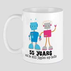 55 Year Anniversary Robot Couple Mug