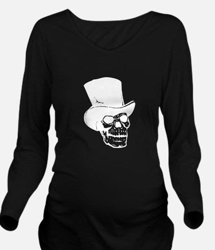 Skull With Top Hat Long Sleeve Maternity T-Shirt