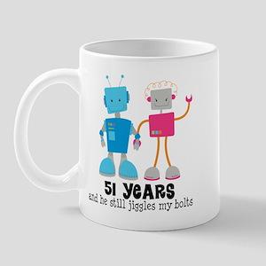 51 Year Anniversary Robot Couple Mug