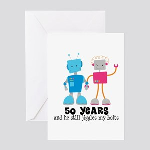 50 Year Anniversary Robot Couple Greeting Card