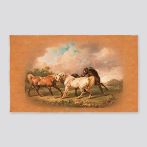 Stallion Horse Trio 3'X5' Area Rug