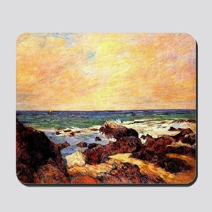 Gauguin - Rocks and Sea. Paul Gauguin pa Mousepad