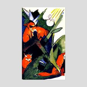Franz Marc - Four Foxes. Franz Sticker (Rectangle)