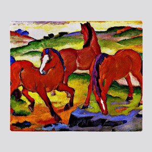 Franz Marc - Grazing Horses IV, 1911 Throw Blanket