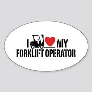 I Love My Forklift Operator Sticker (Oval)