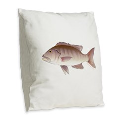 Cubera Snapper Burlap Throw Pillow