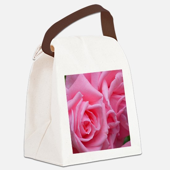 Pink Rose Canvas Lunch Bag