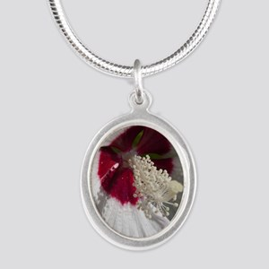 Hibiscus Flower Silver Oval Necklace