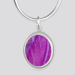 Purple Flower Silver Oval Necklace
