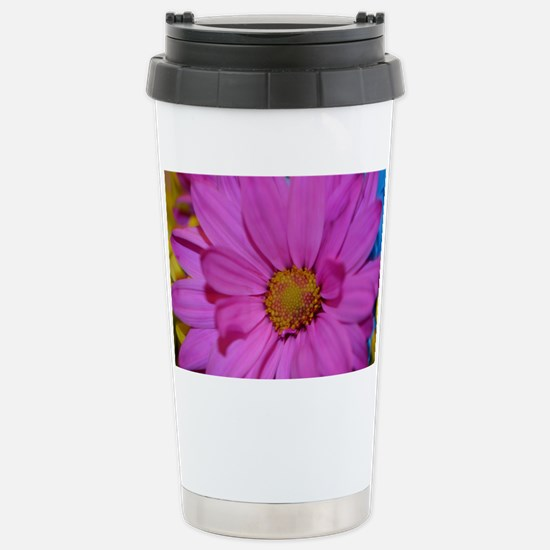 Purple Flower Stainless Steel Travel Mug
