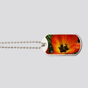 Orange Flower Dog Tags