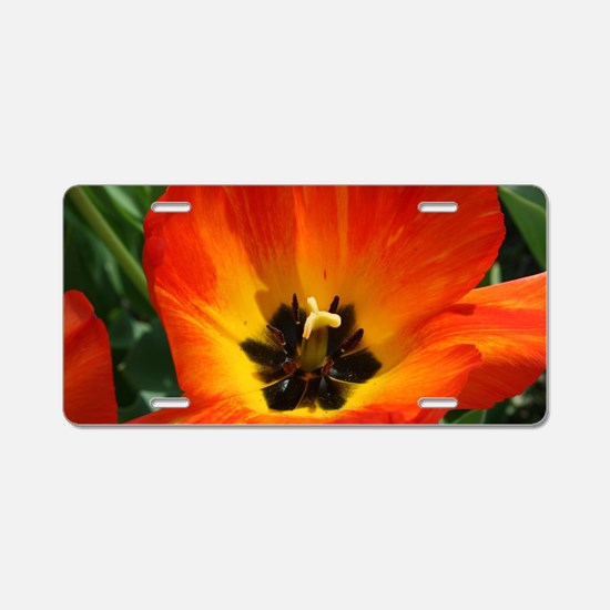 Orange Flower Aluminum License Plate