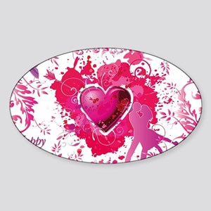 Love and Valentine Day Sticker (Oval)