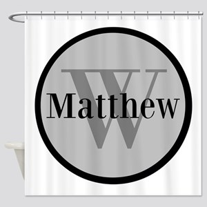 Gray Name and Initial Monogram Shower Curtain