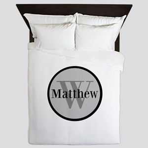 Gray Name and Initial Monogram Queen Duvet