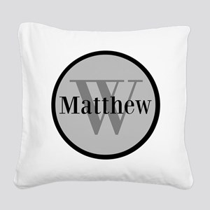 Gray Name and Initial Monogram Square Canvas Pillo