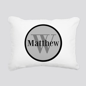 Gray Name and Initial Monogram Rectangular Canvas