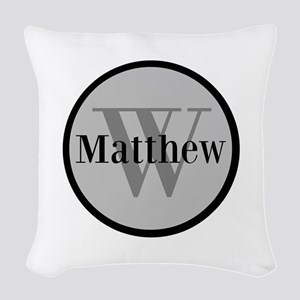 Gray Name and Initial Monogram Woven Throw Pillow