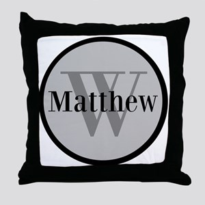 Gray Name and Initial Monogram Throw Pillow