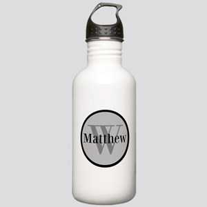 Gray Name and Initial Monogram Water Bottle