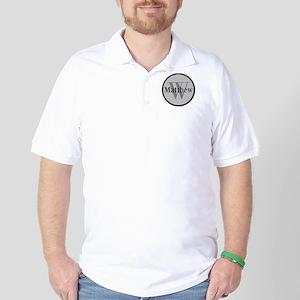 Gray Name and Initial Monogram Golf Shirt