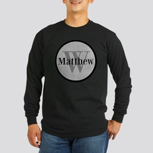 Gray Name and Initial Monogram Long Sleeve T-Shirt