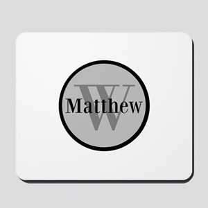 Gray Name and Initial Monogram Mousepad