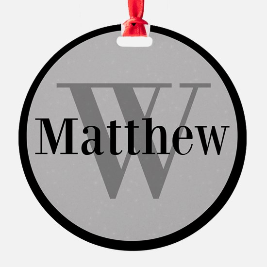 Gray Name and Initial Monogram Ornament