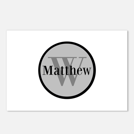 Gray Name and Initial Monogram Postcards (Package